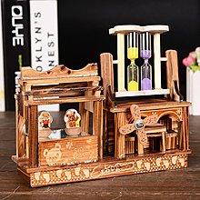 宏美飾品館~木質沙漏旋轉跳舞小熊音樂盒流沙擺件風車八音盒學生創意生日禮物