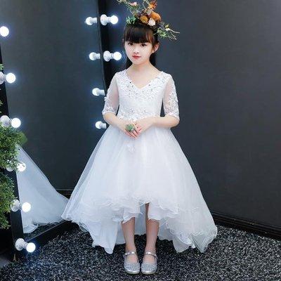 白色兒童禮服公主裙蓬蓬紗婚童鋼琴演出服