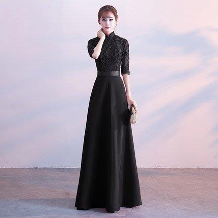 大小姐時尚精品屋~~復古立領修身黑色新娘婚紗長禮服~3件免郵