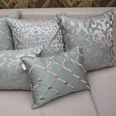 藍綠色歐式繡花床頭靠墊套沙發靠墊抱枕靠枕靠包含芯大定制【最小尺寸】
