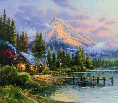 三幅一組油畫布 托馬斯歐式風景山脈 畫芯/畫布/30X40☺暖暖屋☺傢居藝術館