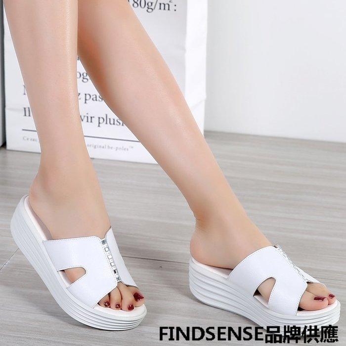 FINDSENSE品牌 新款 日本 女 高品質 真皮 水鑽 厚底增高 舒適 時尚 拖鞋 休閒鞋 潮流鞋子