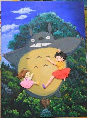 手工油畫與粘土 (非水彩, 數字油畫,粉彩,素描)宮崎駿 龍貓
