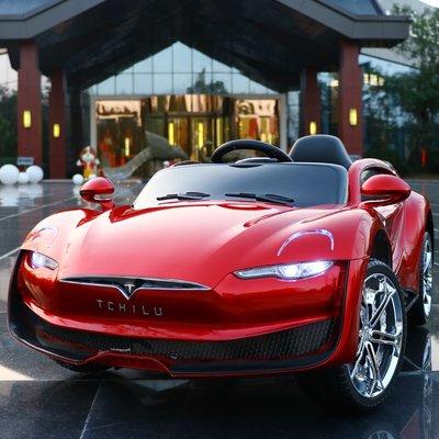 @漫動小鋪 特斯拉兒童電動車四輪汽車雙電雙驅遙控搖擺小孩子寶寶玩具可坐人