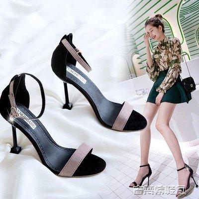 高跟鞋 女夏季新款韓版百搭10cm高跟鞋子性感細跟網紅一字扣露趾涼鞋