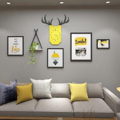 客廳裝飾畫鐘錶風格掛畫實木畫框組合餐廳壁掛置物架飾品掛框《ANGEL時尚館》xh1283