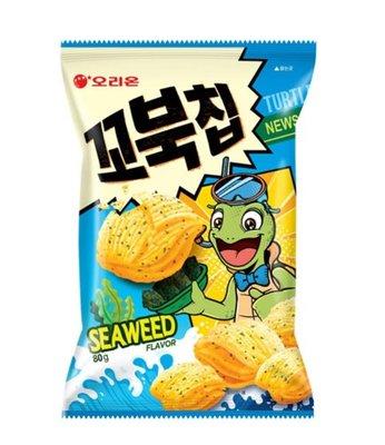 👏👏期間限定特惠↘️↘️韓國好麗友。烏龜餅乾/烏龜玉米脆片。海苔口味80g。2包組~