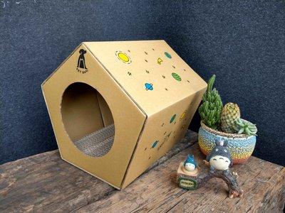 【 PET BAY 】免組裝五角造型紙箱貓屋/寵物屋(S)-原價249