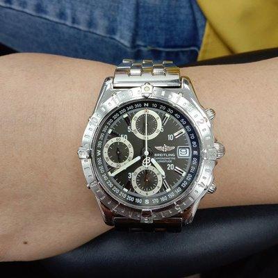流當手錶拍賣 原裝 BREITLING 百年靈 GMT 二地時間 計時 自動 男女錶 9成5新 喜歡價可議 ZR477