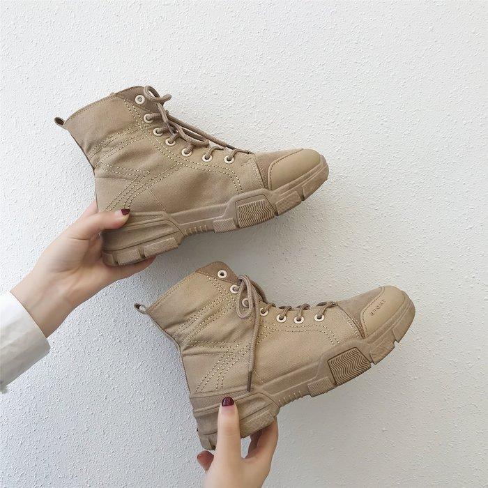 999短靴 靴子 馬丁靴 牛津靴  馬丁靴女夏布面新款英倫風高幫復古短靴厚底機車工裝沙漠女靴
