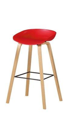 【風禾家具】FQM-1075-8@ES紅色吧台椅【台中1600送到家】休閒椅 耐衝擊PP坐墊+實木腳 北歐風 傢俱