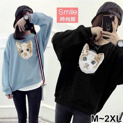 【V2573】SMILE-俏麗時尚.貓咪印花圓領寬鬆長袖上衣