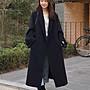 衣都精品- 新款韓版寬鬆雙排釦純色時尚毛呢外...