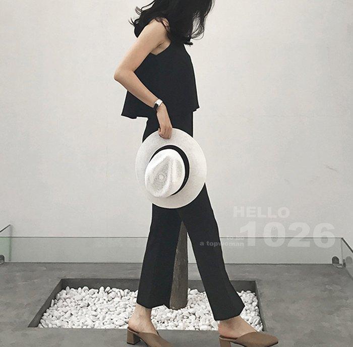 ++1026++歐美 黑色西裝套裝 A字傘狀罩衫背心+中高腰小喇叭褲 七分開叉闊腿寬褲 西裝棉質混雪紡 兩件式知性褲裝