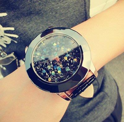 春夏新款 時尚拉風大表盤水鉆 黑色 女錶 手錶皮帶腕錶女潮