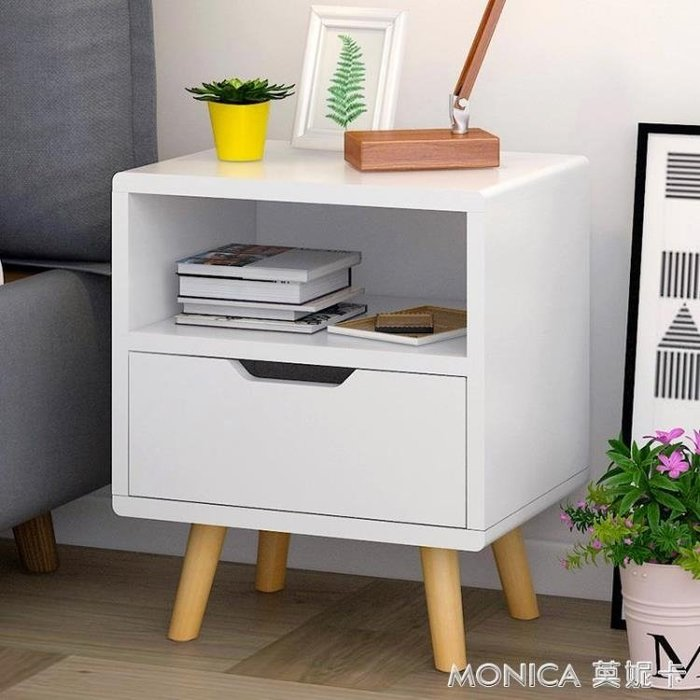 床頭柜歐式簡約儲物柜簡易床頭邊柜小柜子臥室現代創意斗柜  IGO