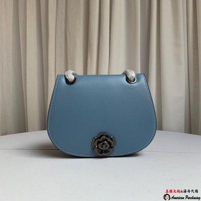 美國大媽代購COACH 寇馳 76114 PARKER系列皮革山茶花雙面藍色單肩包  美國代購