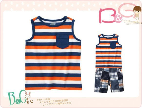 【B& G童裝】正品美國進口Crazy8 橘色條紋背心上衣12-18mos