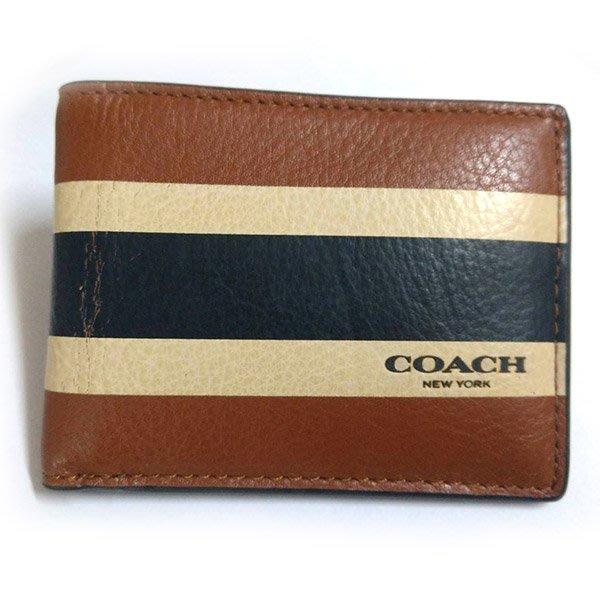 COACH 短夾皮夾 男用 咖啡條紋 全皮革 全新瑕疵特價2590