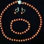----------天然玫瑰海綿珊瑚經典圓珠套鍊十手環十耳環-------