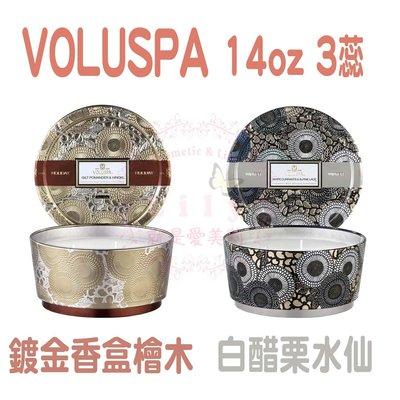 【 現貨免等】美國 Voluspa  14oz 3蕊 頂級香氛蠟燭 壓花外型 鍍金香盒與檜木 白醋栗水仙