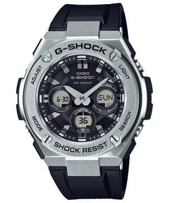 【金台鐘錶】CASIO 卡西歐G-SHOCK 太陽能 鬧鈴電子 膠帶 (黑)  GST-S310-1A