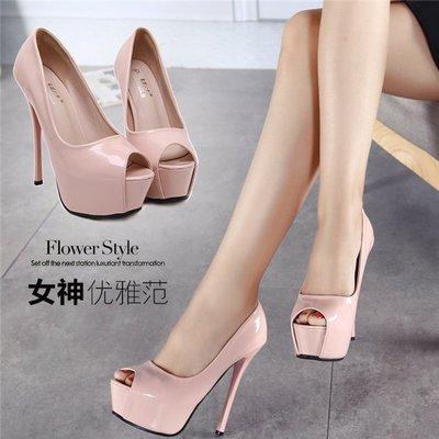 ~Linda~高跟鞋細跟韓國公主性感超高跟單鞋女夏季漆皮防水台魚嘴鞋子裸色