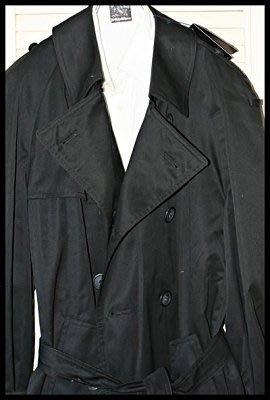 全新【Ralph Lauren 】棉毛料格紋內裡型男必備海軍藍雙排扣休閒式綁帶風衣大衣 (原價$65800)