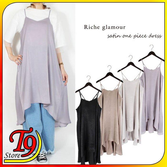 【T9store】日本進口 復古緞面卡米連衣裙