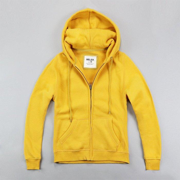 【MELEK Clothes】【MELEK】MELEK女款棉質連帽外套全素款黃 I01140124-07