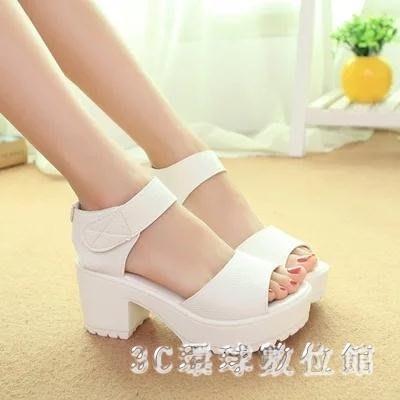 粗跟涼鞋 新款韓版白色鬆糕女涼鞋坡跟厚底粗跟女鞋魔術貼百搭學生鞋LB13349【魅力時尚】