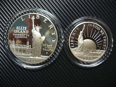 美國 1986年 自由女神 紀念(大)銀幣+(小)鎳幣 組合套幣 含證書 (日本發行)