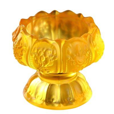 阿里家 憬鴻佛前高腳八吉祥彩色水琉璃供水杯供佛杯佛教用品供水碗圣水杯