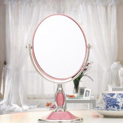 台式化妝鏡歐式鏡雙面梳妝鏡便攜結婚公主鏡3倍高清放大台鏡 #貝貝雜貨鋪