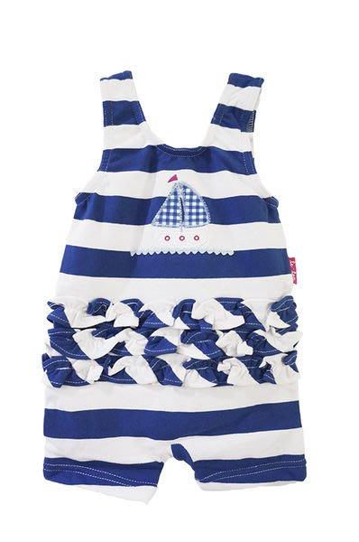 *Dou Dou House*美國進口精品童裝【le top】藍白條紋波浪帆船連身泳裝/泳衣-Size:12M(現貨)