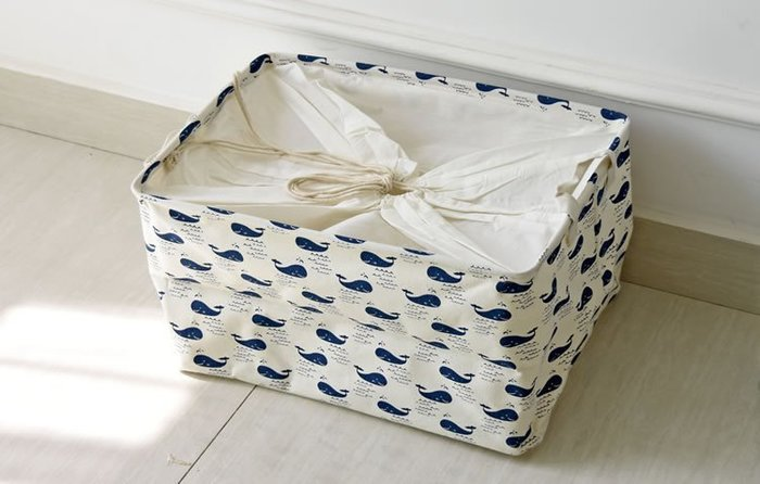 zakka生活雜貨館 日系棉麻束口收納箱 鄉村風海洋系鯨魚圖案置物箱 洗衣袋 玩具收納袋 垃圾桶 分類籃 服飾整理籃