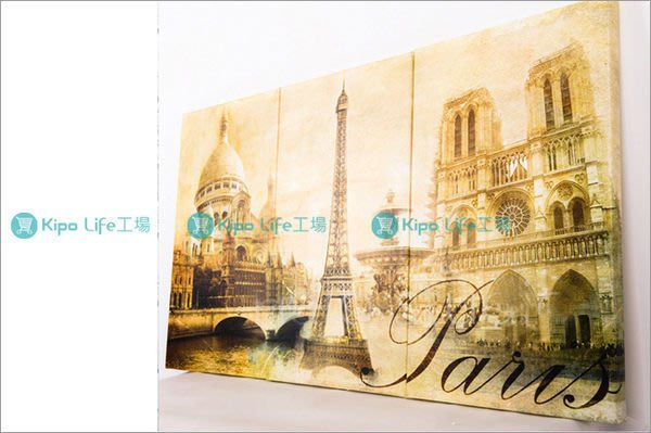 KIPO-無框畫 帆布畫 三聯式 復古歐洲 巴黎 聖母院 艾菲爾 鐵塔 NCL005102A