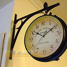 433 (促)華城小舖**仿古 時鐘 民宿 靜音 雙面鐘 實木掛鐘 歐式 掛鐘 加大型/紐約地鐵車站雙面鐘