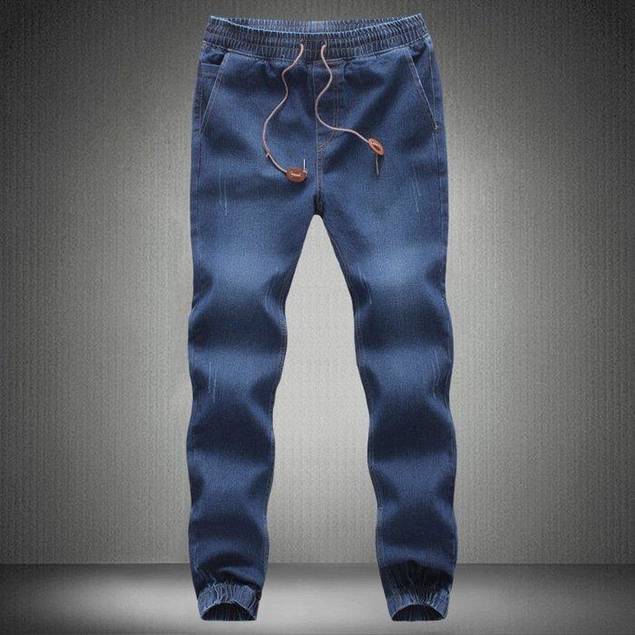 牛仔牛仔褲速賣通批供收腳牛仔褲男士加肥加大碼松緊彈力束腳褲小腳褲潮 男士牛仔褲