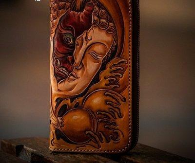 NYCT 韓國高品質限定原創 歐美熱賣頂級百搭時尚手工原創皮雕一念之間錢包拉鍊手拿包純手工雕刻財布手機包