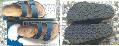 德國製Birkenstock勃肯鞋:藍色真皮拖鞋Arizona(051151)鞋碼36附鞋盒