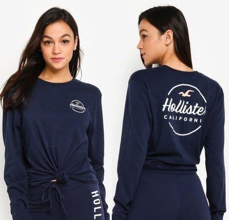 HCO Hollister 海鷗 長袖 T恤 女生 前後圖騰 藍色
