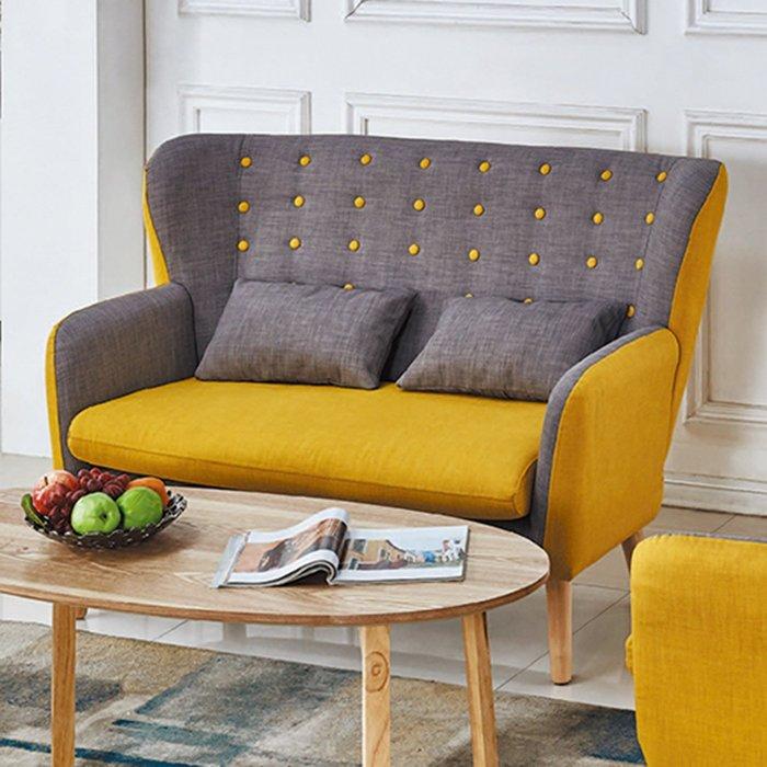 【在地人傢俱】19 樂樂購-拉點黃色雙色2人/二人/雙人布沙發椅 JL97-2