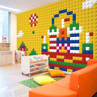 哇塞壁纸樂高壁紙lego墻紙機器人背景墻兒童培訓班教室壁畫幼兒園臥室墻紙小猪哇塞