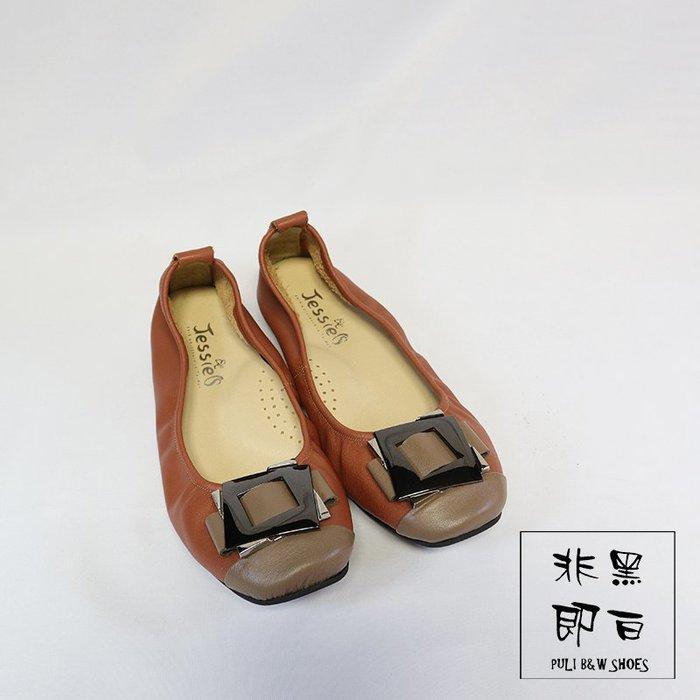 【非黑即白】#零碼#MIT舒適真皮柔軟方框金屬女娃娃鞋 平底鞋 低跟鞋 咖色310188