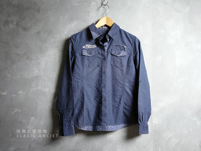 CA 日系品牌 BIG TRAIN 女款 深藍 純棉 長袖襯衫 M號 一元起標無底價L989