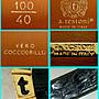 精品大師-A.TESTONI-超奢華金框板扣黑色鱷魚皮帶/市價6萬-極新真品