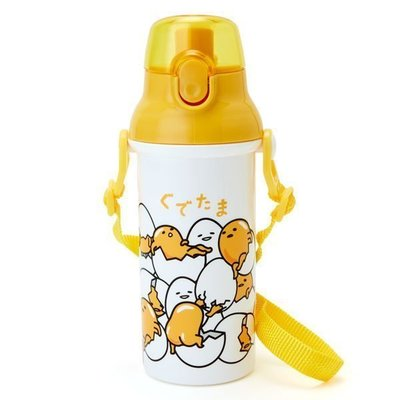 【東京家族】 日本製 蛋黃哥 ぐでたま Gudetama 兒童水壺 直飲式水壺 揹帶水壺 480ml