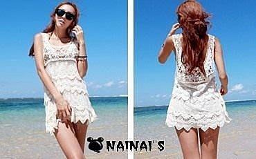 【NAINAIS】Shine‧9427 韓版 熱賣比基尼罩衫 透肌鏤空露肩沙灘蕾絲針織衫 E款鉤花背心 2色預