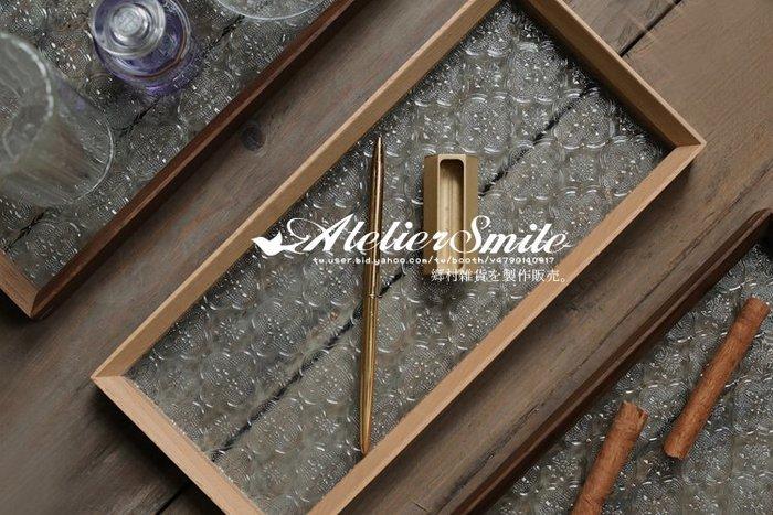 [ Atelier Smile ]  鄉村雜貨  日本直送 復古花玻璃 櫸木手工製托盤 收納盒 展示盤 (現+預)